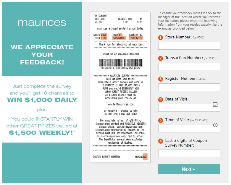Tell Maurices Receipt Survey